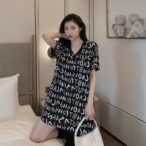 Dress Summer 2020 black Average size Short skirt singleton  Short sleeve commute V-neck Loose waist letter Socket other routine Others 18-24 years old Type H Other / other Korean version More than 95% other other