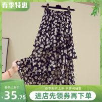 skirt Spring 2021 S,M,L,XL,2XL,3XL Off white, pink, black white dot, little zouju white, little zouju black Mid length dress High waist A-line skirt Other / other