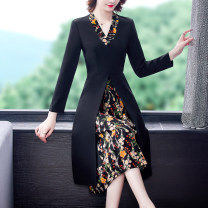 Women's large Spring 2021 black S M L XL 2XL 3XL 4XL Dress singleton  commute Self cultivation moderate Socket Long sleeves Decor lady V-neck Three dimensional cutting routine Mengshayan 35-39 years old Medium length Other 100% Exclusive payment of tmall