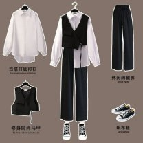 Outdoor casual clothes Tagkita / she and others female one hundred and fifty-five point three nine 6206 + 6454 + 6455 three piece set, 6455 black vest [single piece], 6454 white shirt [single piece], 6206 Black Wide Leg Pants [single piece], collection plus purchase priority delivery Under 50 yuan