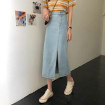 skirt Spring 2021 S,M,L,XL Dark blue, light blue longuette commute High waist Denim skirt Solid color Type H Under 17 3j 71% (inclusive) - 80% (inclusive) Denim Korean version