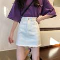 skirt Summer 2021 S,M,L,XL Short skirt commute High waist Denim skirt Solid color Type A 18-24 years old Z11 Korean version