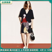 Dress Summer 2021 Black Sequin dress S,M,L,XL,XXL Middle-skirt singleton  Short sleeve street V-neck middle-waisted Cartoon animation zipper other routine Others 18-24 years old Type H 51% (inclusive) - 70% (inclusive) other cotton Europe and America