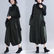 Women's large Winter of 2018 Dark green black Big size average Dress singleton  commute Socket literature cotton other X.C.U 81% (inclusive) - 90% (inclusive) Medium length Triacetate fiber (triacetate fiber) 100% Irregular skirt