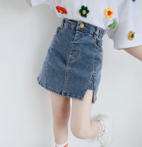 skirt 120cm,130cm,140cm,150cm,160cm Denim skirt, flower T-shirt + denim skirt (1 set), flower T-shirt + denim skirt + socks (3 sets) Other / other female Cotton 90% other 10% winter skirt Korean version Solid color A-line skirt cotton Class B