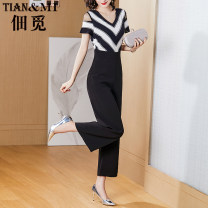 Casual pants Black and white S M L XL XXL Summer 2021 Ninth pants Jumpsuit High waist commute routine 30-34 years old 96% and above LRH2020108Z. Tenancy search lady pocket polyester fiber Polyester 100% Pure e-commerce (online only)
