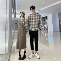 shirt Youth fashion Seven tides and eight tides S M L XL 2XL 3XL Men's shirt, men's shirt + pants, women's shirt + suspender skirt routine square neck Long sleeves Self cultivation Other leisure autumn lovers Polyester 75% cotton 25% tide 2020 lattice Plaid Autumn 2020 No iron treatment
