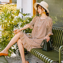 Dress Summer 2020 L,M,S Mid length dress singleton  elbow sleeve commute Crew neck Loose waist lattice Socket Ruffle Skirt pagoda sleeve Others 18-24 years old Type H Retro More than 95% other polyester fiber
