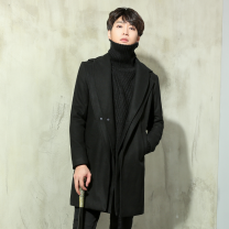 woolen coat black S 165,M 170,L 175,XL 180,XXL 185 Invisible flash moon Youth fashion out160022 Woolen cloth have more cash than can be accounted for Other leisure Self cultivation teenagers Double collar Single breasted tide Solid color Cloth hem winter