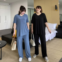 Women's large Summer 2021 Black (top), black (pants), sky blue (top), sky blue (pants) Large XL, large 2XL, large 3XL, large 4XL, large 5XL T-shirt Two piece set commute easy moderate Socket Short sleeve Solid color Korean version Crew neck Medium length other Xin Cun Zhen 25-29 years old trousers