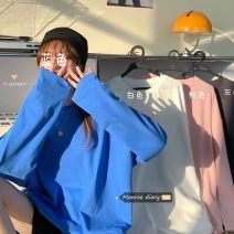 T-shirt Gray, white, blue, pink Average size Spring 2021 Long sleeves easy Medium length commute other 30% and below 18-24 years old Korean version