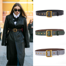 Belt / belt / chain Double skin leather female Waistband Versatile Single loop youth Smooth button letter Patent leather 3.7cm alloy letter