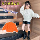 Sweater / sweater The recommended height is 105cm for 110, 115cm for 120, 125cm for 130, 135cm for 140, 145cm for 150 and 155cm for 160 Cashmere female White, orange, white plush, orange plush Other / other Korean version Socket thickening Crew neck Solid color Class B 2 years old