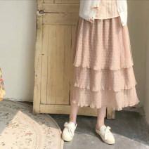 skirt Summer of 2019 S, M Naked wave dot yarn skirt (in stock) Mid length dress Sweet High waist Cake skirt Dot Type A 18-24 years old Lace polyester fiber Ruffles, folds solar system