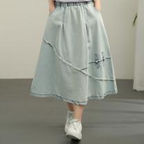 skirt Summer 2021 Average size wathet longuette Versatile High waist A-line skirt Solid color Type A More than 95% Denim cotton Pockets, stitching