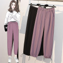 Women's large Spring 2021 Lavender black XL [recommended 100-120 kg] 2XL [recommended 120-140 kg] 3XL [recommended 140-160 kg] 4XL [recommended 160-180 kg] 5XL [recommended 180-200 kg] trousers singleton  commute easy moderate Conjoined Shape solid color Korean version other Three dimensional cutting