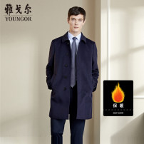 woolen coat Tibetan green 165/88A 170/92A 175/96A 180/100A 185/104A 190/108A Youngor Business gentleman GYSY010003FWY-229667 Wool 89.9% Cashmere 10.1% Autumn of 2019 Medium length go to work Self cultivation youth Lapel