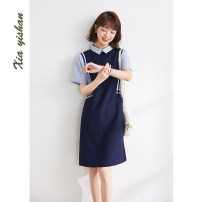 Dress Summer 2021 Dark blue - pre sale 10 days S M L XL Middle-skirt singleton  Short sleeve Sweet Doll Collar Loose waist Solid color Socket other routine Others 25-29 years old Type H Xia Yishan Stitching buttons X21173 More than 95% other Other 100% college