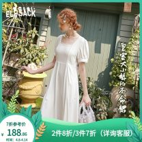 Dress Summer 2020 Forever white S M L Mid length dress singleton  Short sleeve Sweet square neck High waist Socket A-line skirt puff sleeve 18-24 years old Type X Goblin's pocket ten million two hundred thousand one hundred and fifty-five More than 95% other Other 100% Ruili