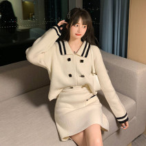 Women's large Autumn 2020 S M L XL Dress Two piece set commute easy Socket Long sleeves Retro Admiral routine routine European Tour Button Short skirt Polyester 80% other 20% Pure e-commerce (online only)