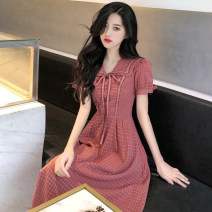 Women's large Summer 2020 Raspberry red dress S M L XL Dress singleton  commute Self cultivation Socket Short sleeve Korean version Admiral puff sleeve OT72108 European Tour 18-24 years old Bandage Medium length Polyester 80% other 20% Pure e-commerce (online only)