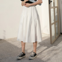 skirt Spring of 2019 Average size White, black Mid length dress commute High waist Pleated skirt Solid color Type A 18-24 years old 31% (inclusive) - 50% (inclusive) Other / other Korean version