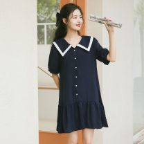 Dress Summer 2021 Premium black, premium dark blue S,M,L Middle-skirt singleton  Short sleeve commute Doll Collar Loose waist Solid color Single breasted Pleated skirt bishop sleeve Others 18-24 years old Type A Korean version Button 31% (inclusive) - 50% (inclusive) other cotton