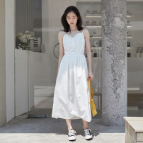 Dress Summer 2020 white S,M,L longuette singleton  Sleeveless commute V-neck High waist Solid color Single breasted A-line skirt camisole 18-24 years old Type A Korean version Auricularia auricula, button 31% (inclusive) - 50% (inclusive)