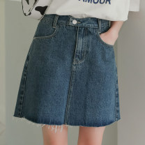 skirt Summer 2021 S,M,L blue Short skirt commute High waist Splicing style Big flower Type A 18-24 years old 81% (inclusive) - 90% (inclusive) Denim Other / other cotton Korean version 401g / m ^ 2 (inclusive) - 500g / m ^ 2 (inclusive)