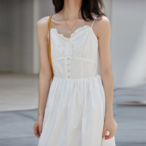Dress Summer 2020 white S,M,L longuette singleton  Sleeveless commute V-neck High waist Solid color Single breasted A-line skirt camisole 18-24 years old Type A literature Button, fold 31% (inclusive) - 50% (inclusive)
