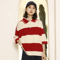 T-shirt gules Average size Summer of 2019 Short sleeve Polo collar easy Regular routine commute other 30% and below 18-24 years old Korean version youth Thick horizontal stripe Other / other