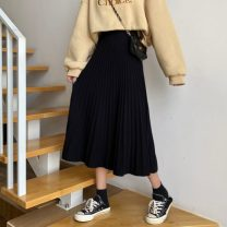 skirt Winter 2020 Average size black Mid length dress commute High waist A-line skirt Solid color Type A 18-24 years old 31% (inclusive) - 50% (inclusive) Other / other Korean version