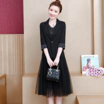 Women's large Autumn of 2019 black L suggests 100-119 kg, 2XL 135-148 kg, XL 120-133 kg, 4XL 165-180 kg, 3XL 150-163 kg Dress Two piece set commute Self cultivation moderate Cardigan Long sleeves Dot Korean version Crew neck Medium length other Three dimensional cutting routine Other / other Gauze