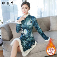 cheongsam Winter of 2019 S M L XL XXL Picture color Long sleeves long cheongsam Retro Low slit daily Oblique lapel Decor 25-35 years old Piping K19C092 Feichang Ke other Other 100% Pure e-commerce (online only)
