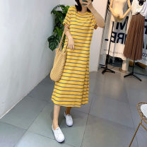 Dress Summer 2020 Blue yellow stripe, yellow stripe, blue red stripe, black and white stripe, blue white stripe, gray black stripe, Tibetan blue stripe M,L,XL 81% (inclusive) - 90% (inclusive) brocade