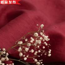 Fabric / fabric / handmade DIY fabric flax Milky white, 0.5 meter price of cranberry Loose shear piece Solid color printing and dyeing clothing Countryside Other / other 100%