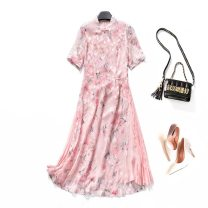 Women's large Summer 2020 Petals pink Dress singleton  commute easy thin Socket Short sleeve Decor Korean version stand collar polyester Three dimensional cutting routine 25-29 years old Three dimensional decoration 96% and above Medium length
