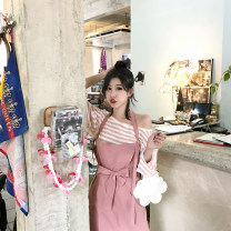 Dress Summer of 2019 Bean paste powder spot, black spot S, M Mid length dress singleton  Sleeveless commute High waist Solid color Socket camisole 18-24 years old Type H Korean version Bandage W885 ᦇ straight tube two-way skirt More than 95% other