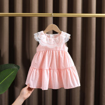 Dress Pink female Dr. Black  80cm,90cm,100cm,110cm,120cm,130cm Cotton 95% other 5% summer princess Skirt / vest Solid color Cotton blended fabric Pleats 2021-4.12-B013 Class A 12 months, 9 months, 18 months, 2 years old, 3 years old, 4 years old, 5 years old, 6 years old, 7 years old Chinese Mainland