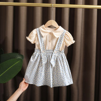 suit Dr. Black  Off white 80cm,90cm,100cm,110cm,120cm,130cm female summer Korean version Short sleeve + skirt 2 pieces Thin money No model Single breasted nothing flower cotton children Expression of love 2021-3.23-B006 Class A Cotton 95% other 5% Chinese Mainland Zhejiang Province
