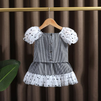 suit Dr. Black  Picture color 90cm,100cm,110cm,120cm,130cm,140cm female summer Korean version Sleeveless + skirt 2 pieces Thin money No model Single breasted nothing lattice cotton children Expression of love 2021-4.10-B020 Class A Cotton 95% other 5% Chinese Mainland Zhejiang Province