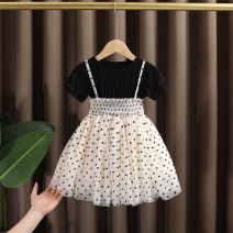 Dress black female Dr. Black  90cm,100cm,110cm,120cm,130cm Cotton 95% other 5% summer Korean version Short sleeve Dot cotton Fluffy skirt 2021-4.10-B007 Class A 12 months, 9 months, 18 months, 2 years old, 3 years old, 4 years old, 5 years old, 6 years old, 7 years old Chinese Mainland