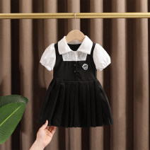 Dress black female Dr. Black  80cm,90cm,100cm,110cm,120cm,130cm Cotton 95% other 5% summer Little fragrance Short sleeve other Cotton blended fabric Shirt skirt 2021-*4.12-B010 Class A 12 months, 9 months, 18 months, 2 years old, 3 years old, 4 years old, 5 years old, 6 years old, 7 years old