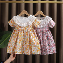 Dress Red, yellow female Dr. Black  90cm,100cm,110cm,120cm,130cm Cotton 95% other 5% summer Forest Department Short sleeve Broken flowers cotton A-line skirt 2021-4.7-B009 Class A 12 months, 9 months, 18 months, 2 years old, 3 years old, 4 years old, 5 years old, 6 years old, 7 years old Huzhou City