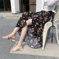 skirt Summer 2021 Average size Black miliaria, white miliaria, pink miliaria, 88 white, red chrysanthemum, black chrysanthemum, light green don't forget me, black don't forget me, black little safflower, carmine, white branches and leaves, red wild chrysanthemum, apricot flower longuette Versatile
