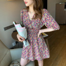 Dress Summer 2021 Purple, red, white S,M,L,XL,2XL Mid length dress singleton  Short sleeve commute V-neck High waist Decor Socket A-line skirt other 18-24 years old Type A Korean version 31% (inclusive) - 50% (inclusive) cotton