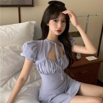 Dress Summer 2021 Light blue, 88 white M. L, XL, XXL Middle-skirt singleton  Short sleeve commute middle-waisted Solid color Socket A-line skirt other Others 18-24 years old Type A Splicing 31% (inclusive) - 50% (inclusive) cotton