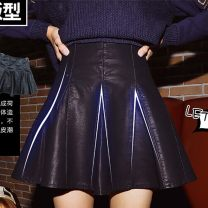 skirt Autumn of 2019 S M L XL 2XL black Short skirt High waist 18-24 years old 2426U_ one trillion and six hundred and twelve billion four hundred and eighteen million seven hundred and eleven Yufeng