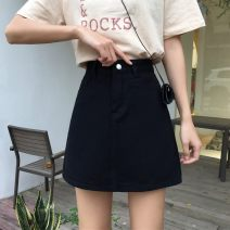 skirt Summer 2020 S M L XL White black Short skirt commute High waist A-line skirt Solid color Type A 18-24 years old 0OSI3_ one trillion and six hundred and twelve billion four hundred and eighteen million three hundred and thirty-one thousand two hundred and thirty-two Denim Yufeng Korean version