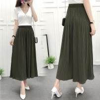 Casual pants Black, khaki, army green, Navy, jujube, pink, pink (little foot mouth), army green (little foot mouth) M [80-105 kg], l [105-130 kg], XL [130-150 kg] Summer 2016 Cropped Trousers Wide leg pants Versatile Thin money